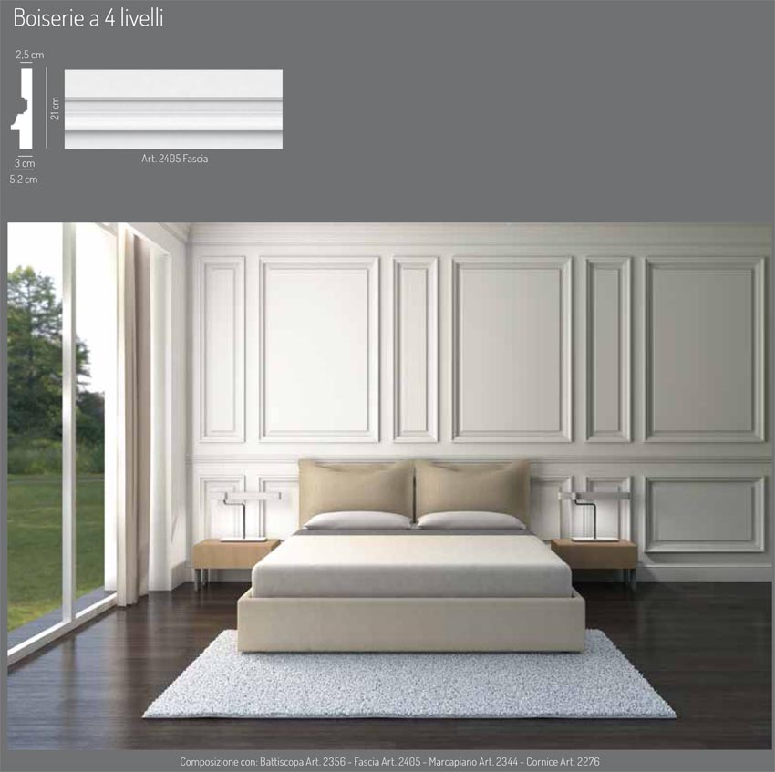 Boiserie gesso profilati alluminio - Stucchi decorativi per pareti ...